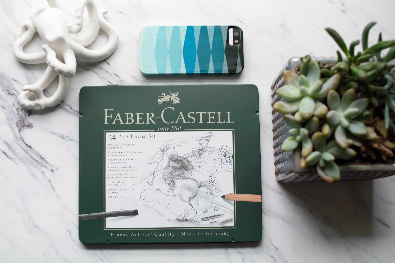 Photograph of the Faber-Castell 24 piece Pitt Charcoal Set.