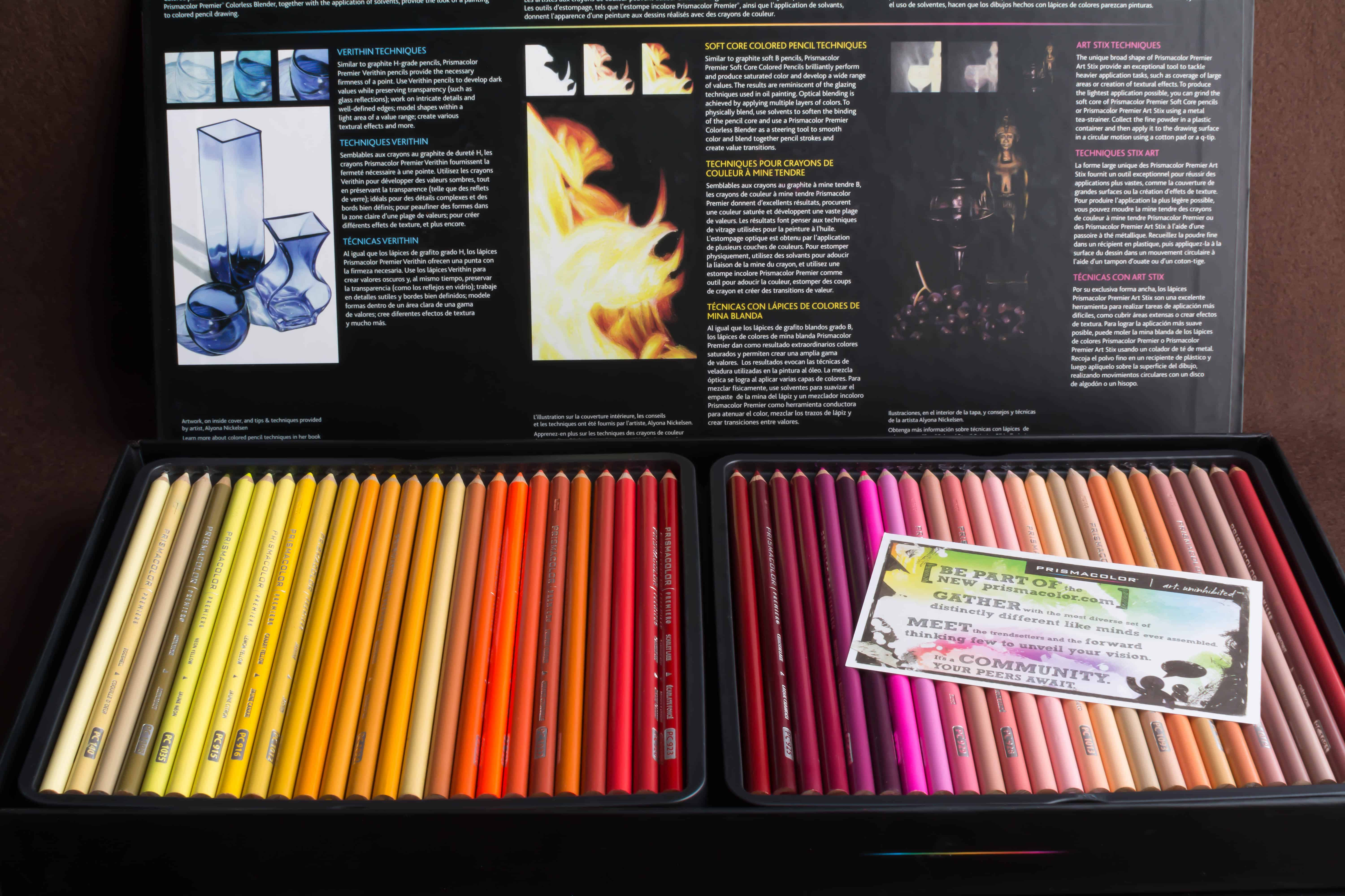 Photo of inner pencil trays of a Prismacolor Premier Colored Pencils 150 piece set.