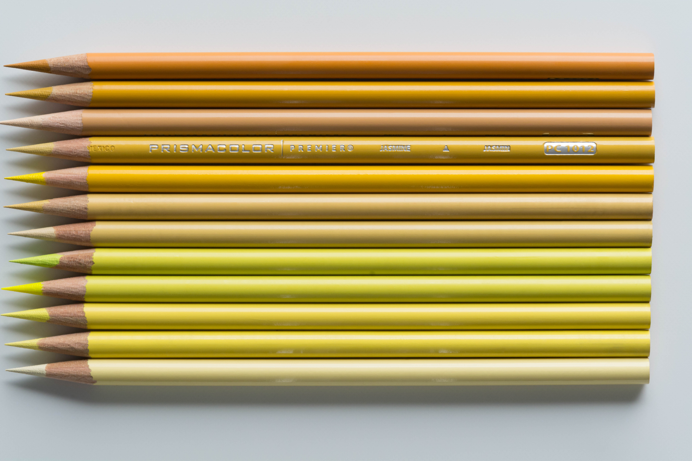 Yellow Prismacolor colored pencils.