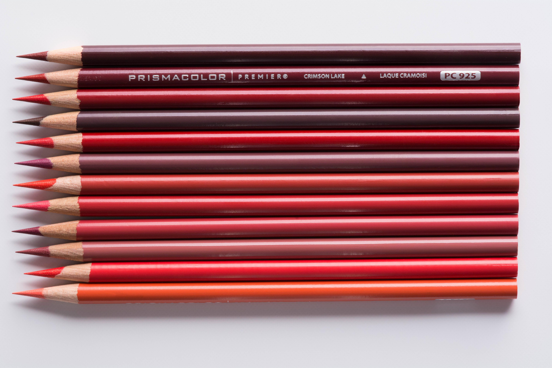 Red Prismacolor Premier colored pencils.